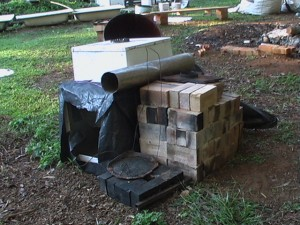 The Rising Phoenix Biochar Kiln in ready to transport mode