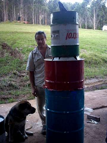a biochar gasifier made from old 44 drums with charmaster Dolph and wombat from Biochar Industries