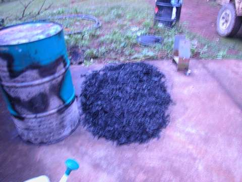 The biochar payload from the gasifier that john rogers built 480 Biochar gasifier project results from first firing.