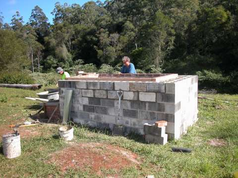 adam retort Biochar Kiln finishing the block work at biochar industries australia