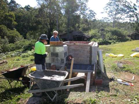 Adam retort Biochar Kiln setting the chimney Kunghur Australia