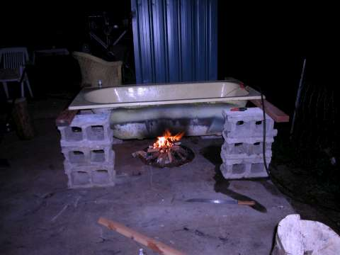 Biochar Bath with fire and flash at Biochar Industries Kunghur