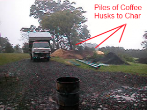Piles of coffee husks