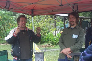 Dolph and Conan at Djanbung Gardens Nimbin
