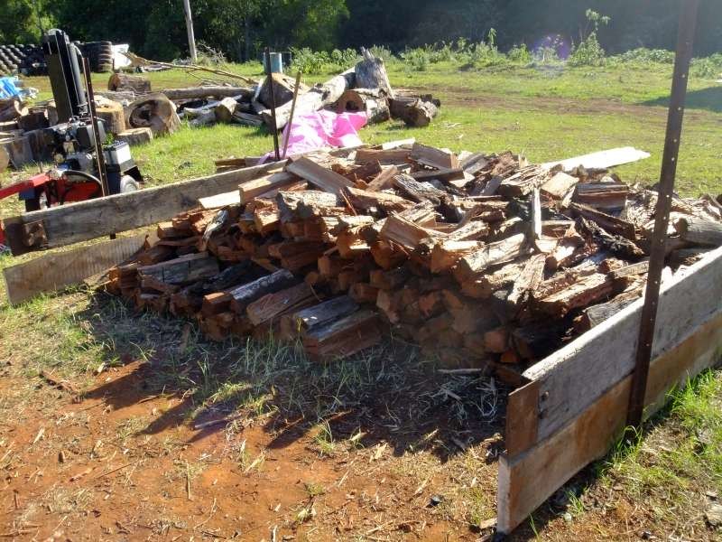 The split wood pile before