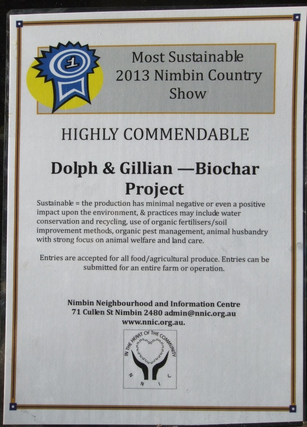 Nimbin show Award for Sustainable farm 2013
