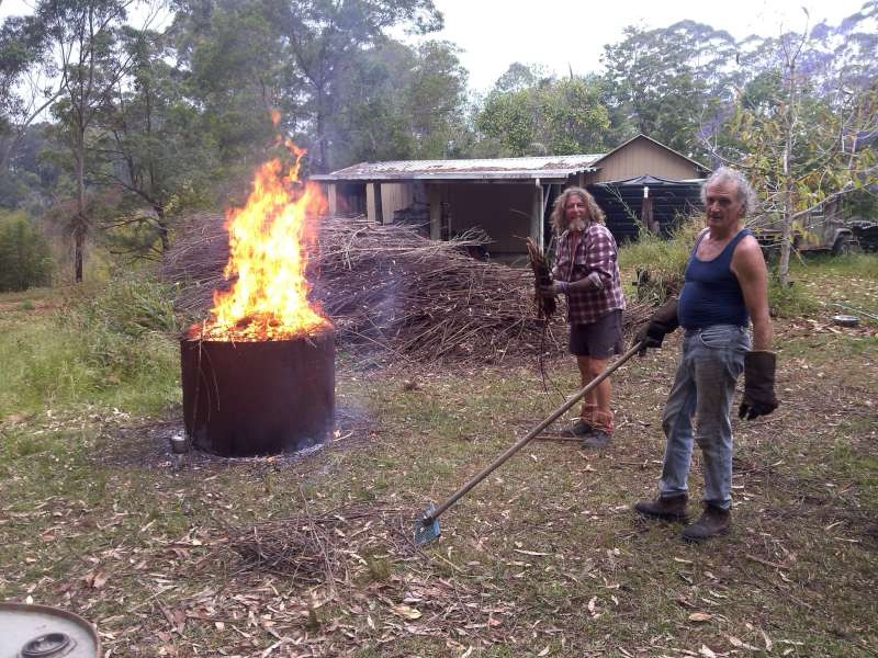Organic farmer uses mini Moxham to turn waste into biochar