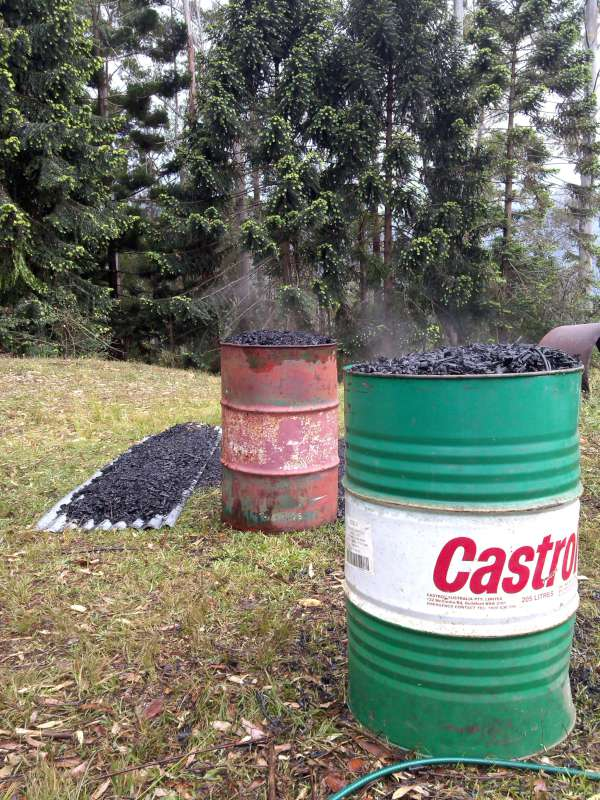 well over 500 litres of Biochar
