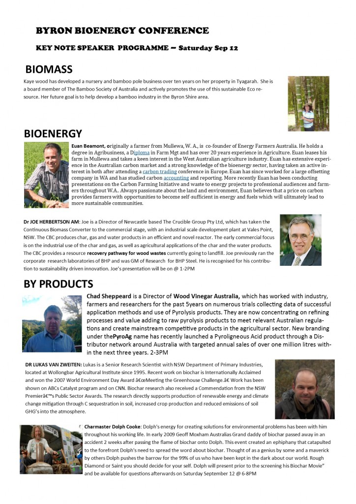 BYRON BAY BIOENERGY CONFERENCE Saturday September 12