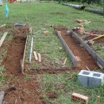 Here the foundations have been dug for the Biochar Industries Adam Retort Kiln