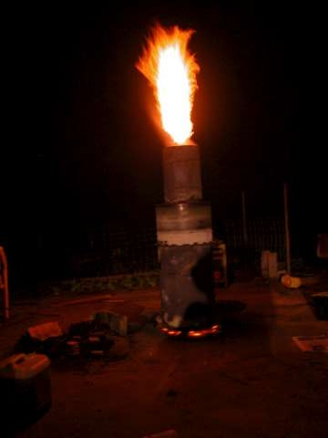 John Rodgers Pirate Biochar Gasifier with 5 ft flame