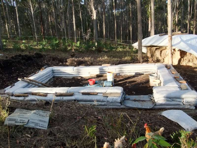 biocharPhot 1 of a new eco house that terreden has constructed showing earth baging base